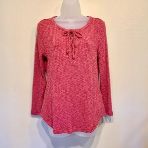 Lucky Brand Pink Ribbed Long Sleeve Lace Up Shirt